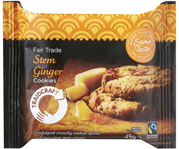 Fairtrade Traidcraft Stem Ginger Cookies - 16x45g