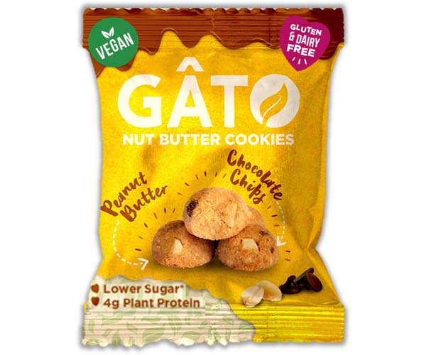 Gato Nut Butter Cookies-Peanut Butter & Choc Chips - 10x33g