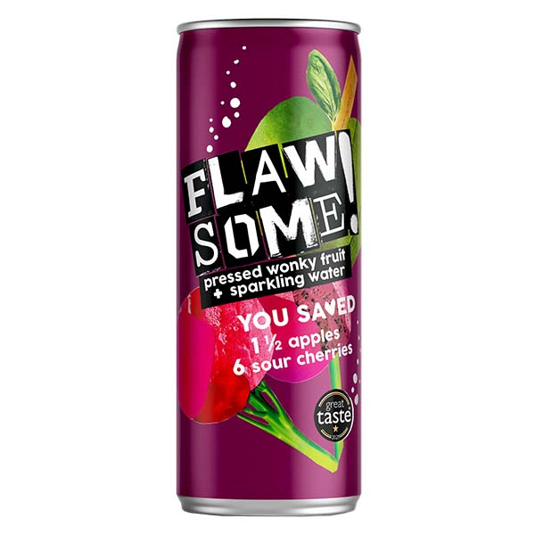 Flawsome Can - Apple & Cherry - Lightly Sparkling Juice - 24x250ml