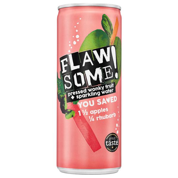 Flawsome Can - Apple & Rhubarb - Lightly Sparkling Juice - 24x250ml