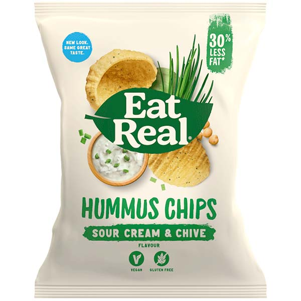 Eat Real - Hummus Chips - Sour Cream & Chive - 12x45g