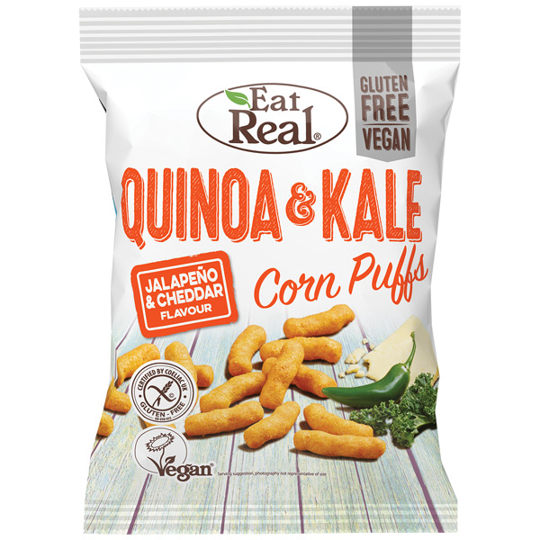 Eat Real - Quinoa & Kale Puff-White Cheddar & Jalapeno-12x40g