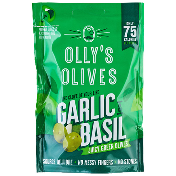 Olly'S Olives - The Connoisseur - Garlic & Basil -12x50g