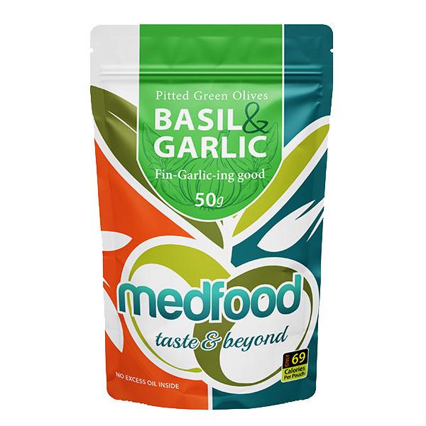 Med Foods - Olives with Basil & Garlic - 12x50g