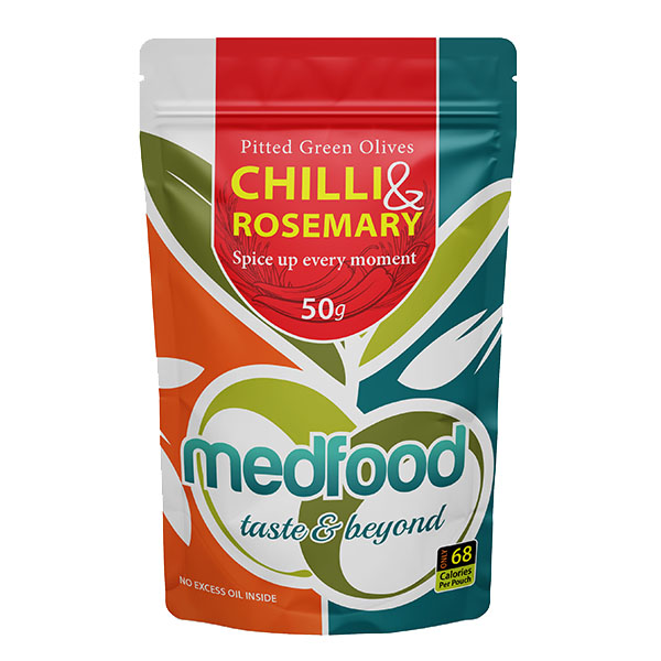 Med Foods - Olives with Chilli & Rosemary - 12x50g