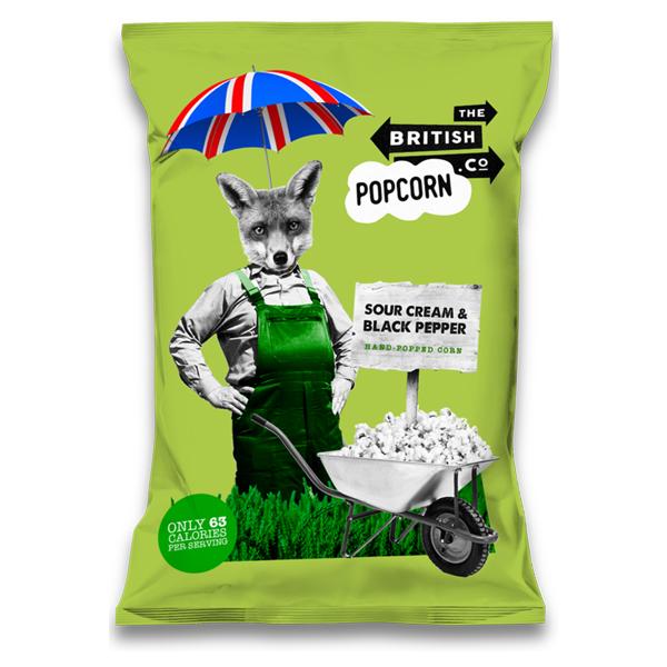 British Popcorn - Sour Cream & Black Pepper - 24x30g
