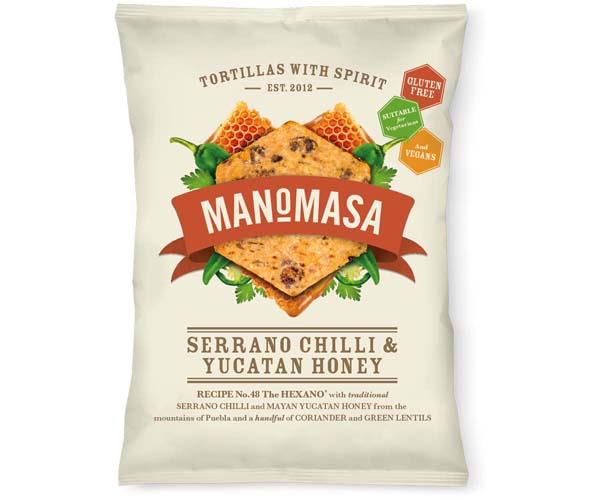 Manomasa Corn Chips - Serrano Chilli & Yucatan Honey-16x40g