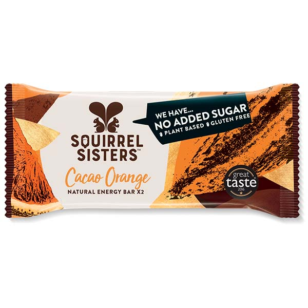 Squirrel Sisters Raw Snack Bar - Cacao Orange - 16x40g