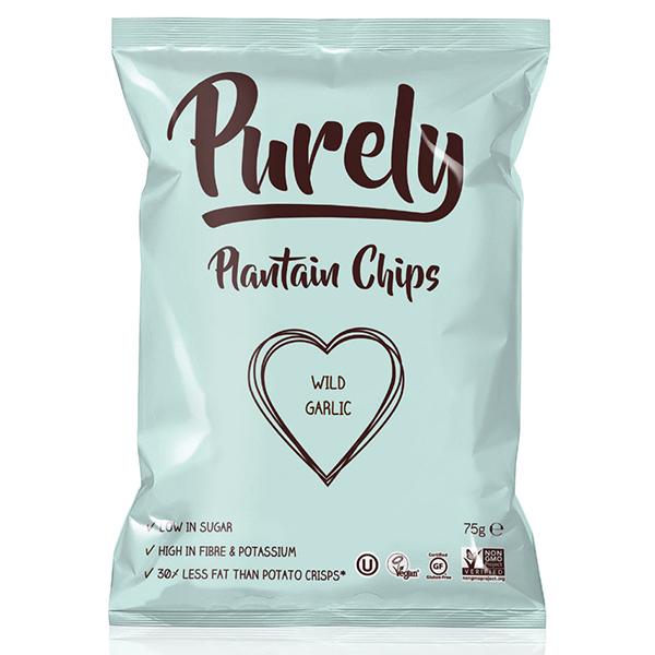 Purely Plantain Chips - Wild Garlic - 24x75g