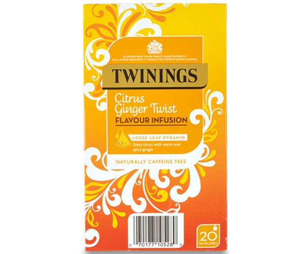 Twinings Enveloped - 216 Pyramid - Citrus Ginger Twist - 4x20