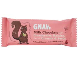 Gnaw - Milk Choc With Cran, Rais, Granola & Seeds - 40x35g