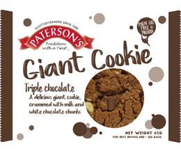Patersons (Bronte) - Giant Cookies - Triple Choc - 18x60g
