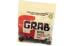 Grab Bites - Cranberries Coated In Dark Chocolate - 12x50g