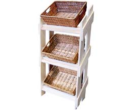 Rdp - Retail Wooden Stand With 3 Wicker Trays - 1x1