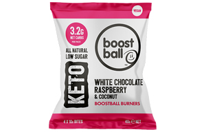 Boost Ball - White Choc Raspberry & Coconut Keto -12x40g