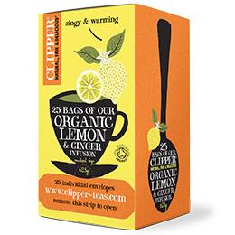 Clipper Enveloped - 25 - Organic Lemon & Ginger - 6x25